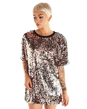 d9a0c1cac57 iHeartRaves Rose Gold Spark Your Attention Sequin Tee Shirt (X-Small). Roll  over image to zoom in