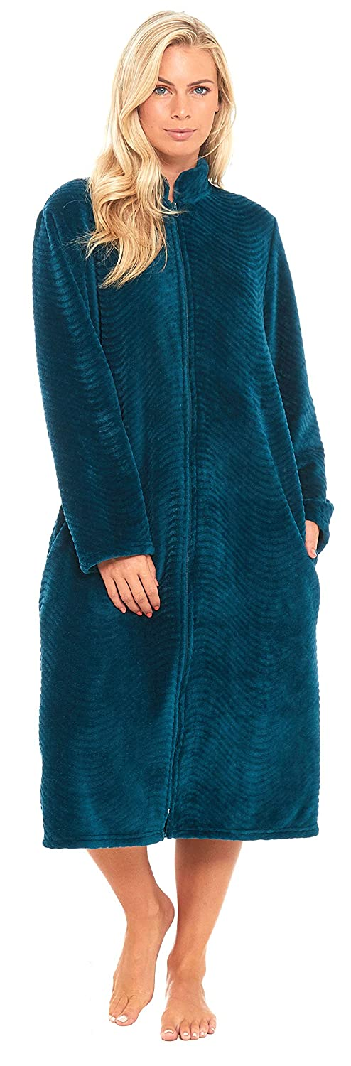 Slumber Hut Ladies Fleece Zipped Dressing Gown Traditional Collar