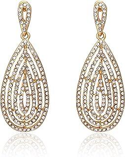 Rhinestone Hollow Teardrop Dangle Earrings Spaky Crystal Wedding Bridal Party Earrings for Women