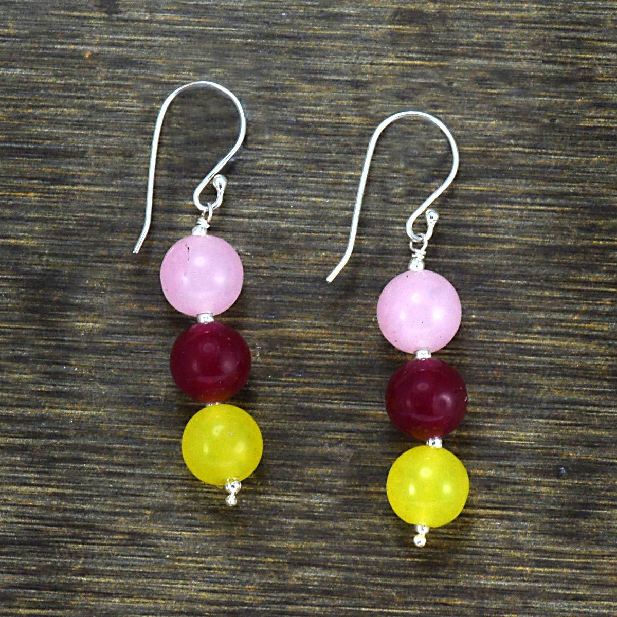 Pink Yellow /& Rose Quartz Fish-hook 925 Sterling Silver Earring Jaipur Rajasthan India Handmade Jewelry Manufacturer Round Beads Layering