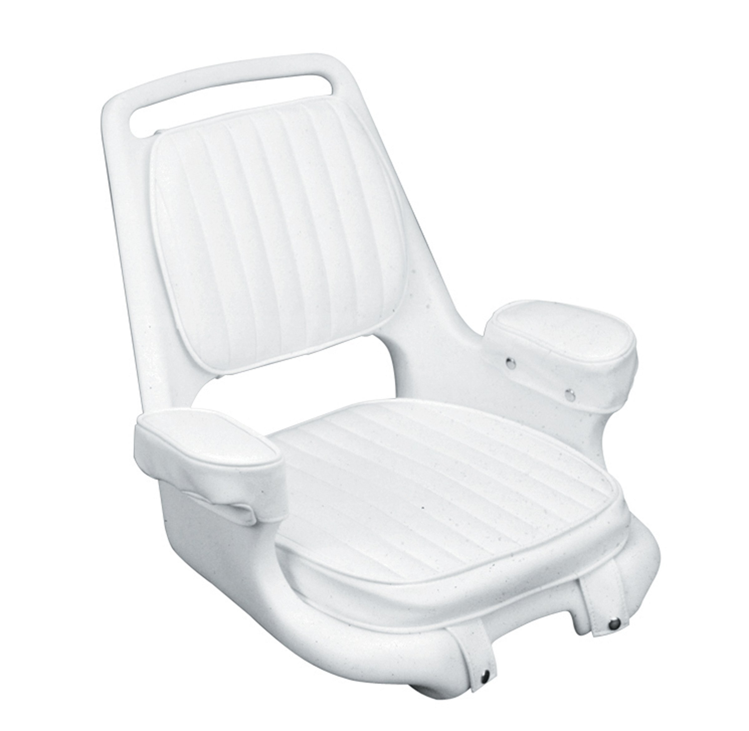 Moeller Heavy Duty Extra-Wide Offshore Boat Helm Seat, Cushion, and Mounting Plate Set (22'' x 21'' x 18.38'', White) by Moeller Marine