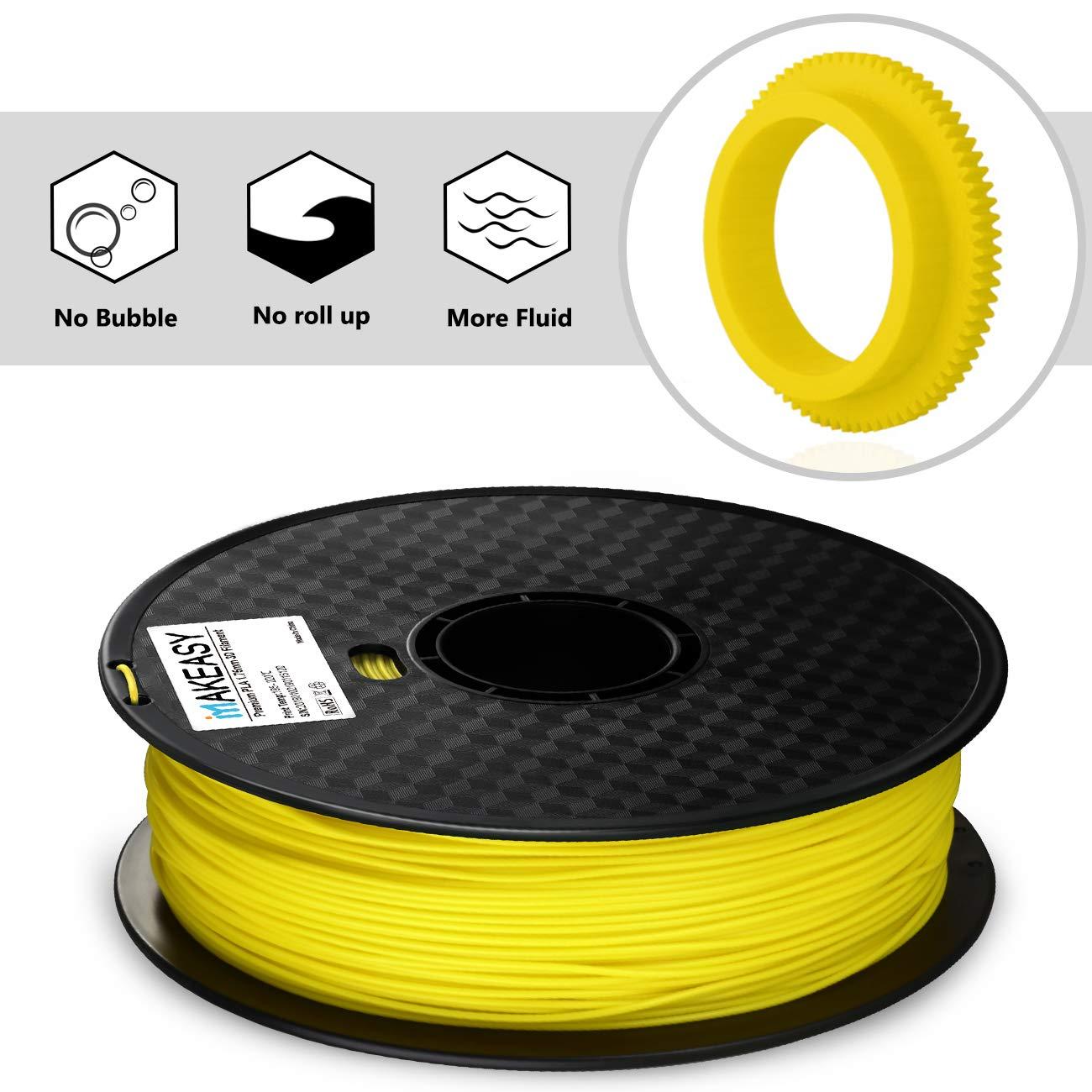 1 kg Spool Yellow Premium PLA MAKEASY 3D PLA Filament 1.75 mm for 3D Printer No Tangling Issue /& No Extruder Clogging