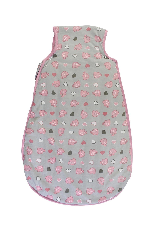 Schlummersack Mädchen Babyschlafsack Winter für Neugeborene 3.5 Tog Elefanten Pink/Grau, 56 cm