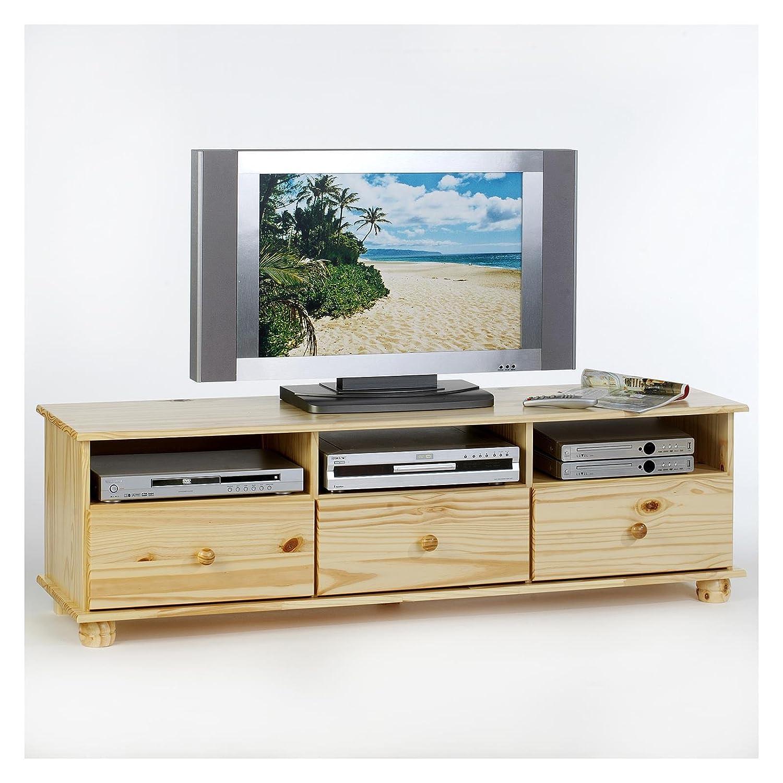 IDIMEX Niedrigboard TV Möbel BERN, Fernsehkommode Hifi Hifi Hifi Möbel Unterschrank, mit 3 Schubladen, Kiefer massiv natur lackiert e68078