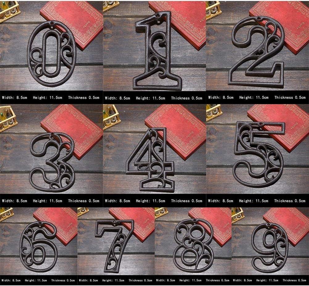 Dkhsy N/úmeros de la casa N/úmero de direcci/ón Personal del Hierro Fundido r/ústico con Yeso monobloque r/ústico n/úmero 0-9 8.5x11.5x0.5 cm Negro