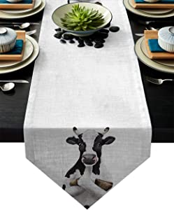 Table Runner Milk Cow Farm Animal Funny Painting Art Table Runners for Catering Events, Dinner Parties, Wedding, Indoor and Outdoor Parties, 13 x 90 Inch