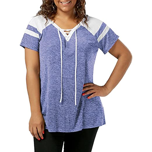 ccb487f1488d6 Handyulong Women Shirts Plus Size Clearance Sale Casual Short Sleeve V-Neck  Lace up Raglan