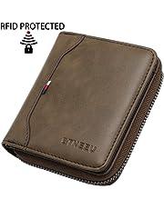 Cartera de Hombre RFID Bloqueo BTNEEU Biflod Billetera de Hombre con Cremallera 19 Ranura para Tarjeta