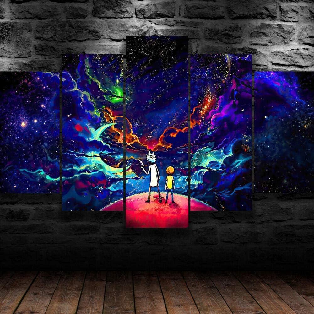 UYTRE Rick y Morty 5 Parti XXL Cuadros Decoracion Salon 5 Piezas Material Tejido no Tejido Impresión Artística Imagen Decoracion de Pared Cuadro - (H-100 cm x M/B-200 cm)