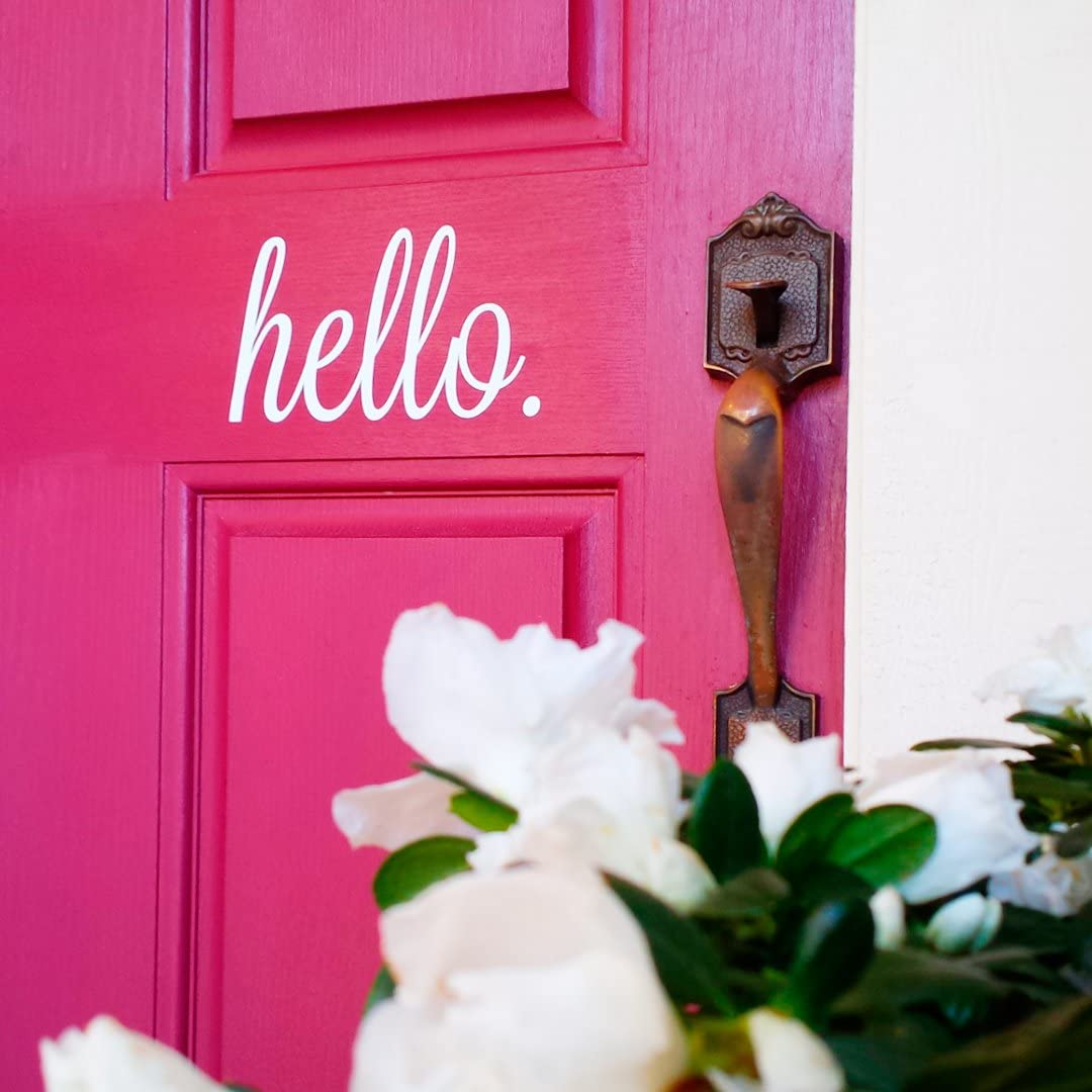 """Front Door Vinyl Decal Cursive Handwriting Wall Art Décor Sticker Lettering Removable (Hello 7"""" x 4"""" Tall, White)"""