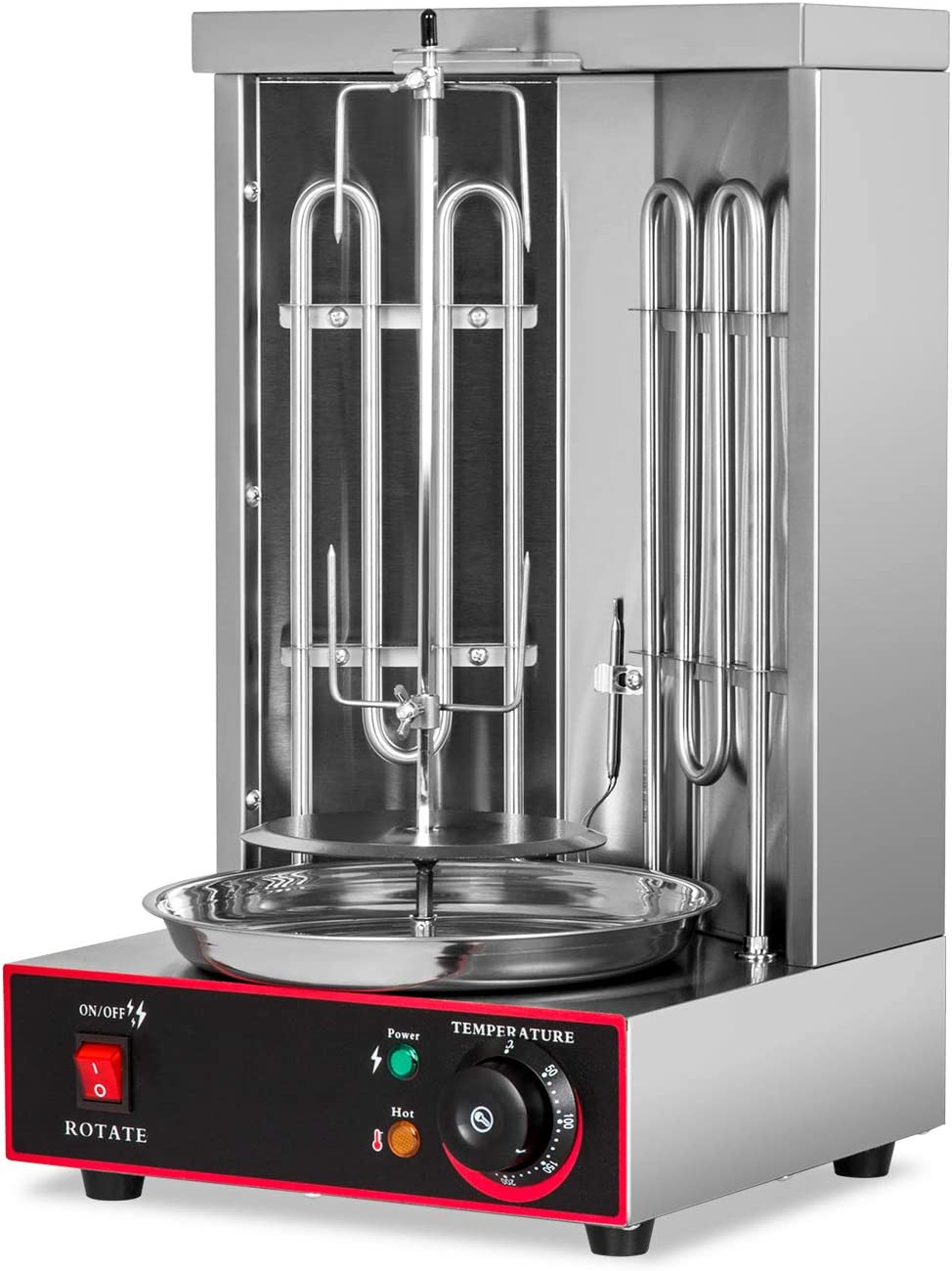 Electric Shawarma Kebab Grill Machine 360/°Rotating Stainless Steel Countertop Vertical Broiler with Temperature Control Gyro Grill Machine for Restaurant Home Kitchen