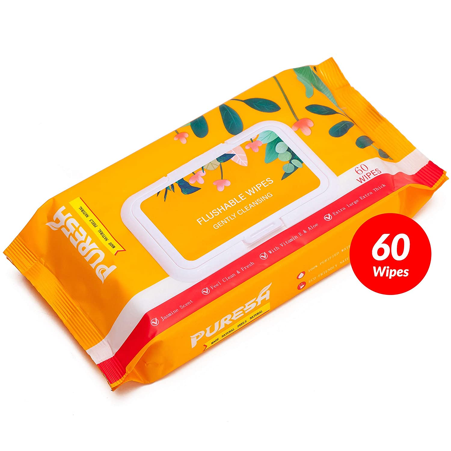 Sewer Safe Vitamin-E /& Aloe for at-Home Use Large Flushable Wet Wipes with Jasmine Scent General Purpose Personal Cleaning 60 Wipes, 1 Pack Puresh Feminine Wipes for Women Adults