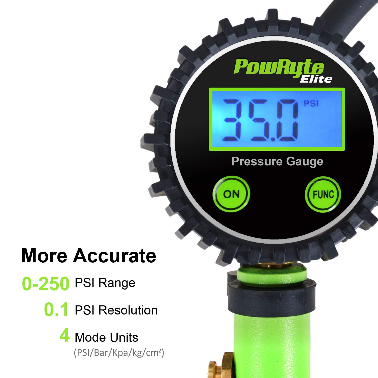 PowRyte Elite Tire Inflator with 250 PSI 0.1/% High Accuracy Digital Tire Pressure Gauge and 12 Piece Accessoires Including 3 Piece Air Chucks,Green