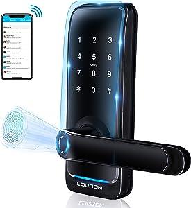 Loqron Smart Fingerprint Door Lock Keyless Entry Biometric Deabolt Door Lock with Reversible Handle, Keypads,Fingerprint,Pin Code,Card,Mechanical Key for Office Home Apartment Powered by Tuya (Black)