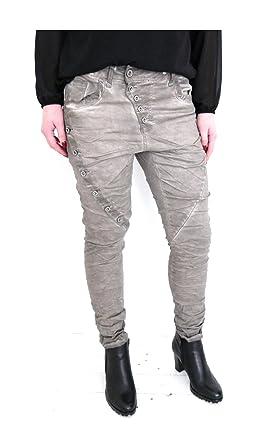 Damen Baggy Skinny Jeans Boyfriend Chino Hose schräge Knopfleiste usedlook  schlamm taupe braun (8378) f93338e20d
