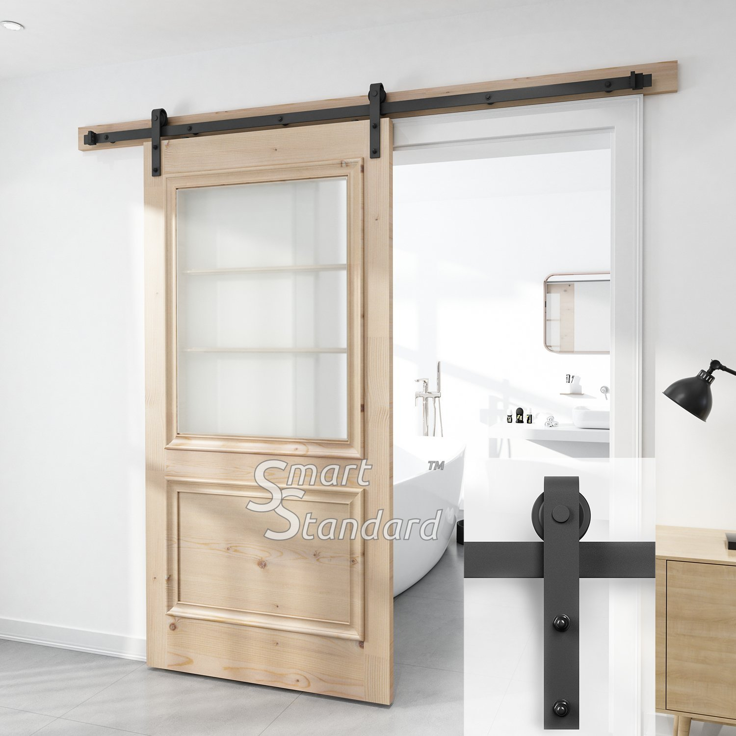 SMARTSTANDARD SDH-0080-STANDARD-BK Heavy Duty Sturdy Sliding Barn Door Hardware Kit, 8' SingleRail,Super Smoothly and Quietly, Simple and Easy to Install, Fit 42-48'' Wide DoorPanel by SMARTSTANDARD (Image #7)