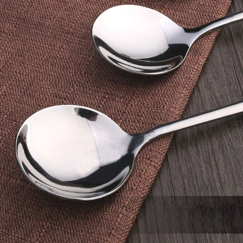 HornTide 6-Piece Soup Spoon Set Chinese Spoon Flatware Stainless Steel Mirror Polishing 6.5-Inch 16.5cm