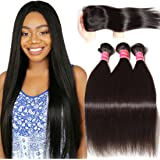 Nadula Brazilian Straight Hair Extensions Pack of 3 with Lace Closure Free Part Grade 6a Unprocessed Remy Virgin Human Hair Natural Color