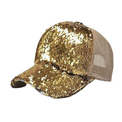 Malloom Mujer Cola de Caballo Gorras Lentejuelas Brillante Bun reticular Snapback Sombreros Sol Gorras (Oro