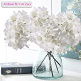 Artificial Hydrangea Flowers, Meiwo 2 Pcs Nearly Natural Fake Hydrangea Silk Flowers to Shine Your Wedding Scene Arrangement and Home Party Decor(White)