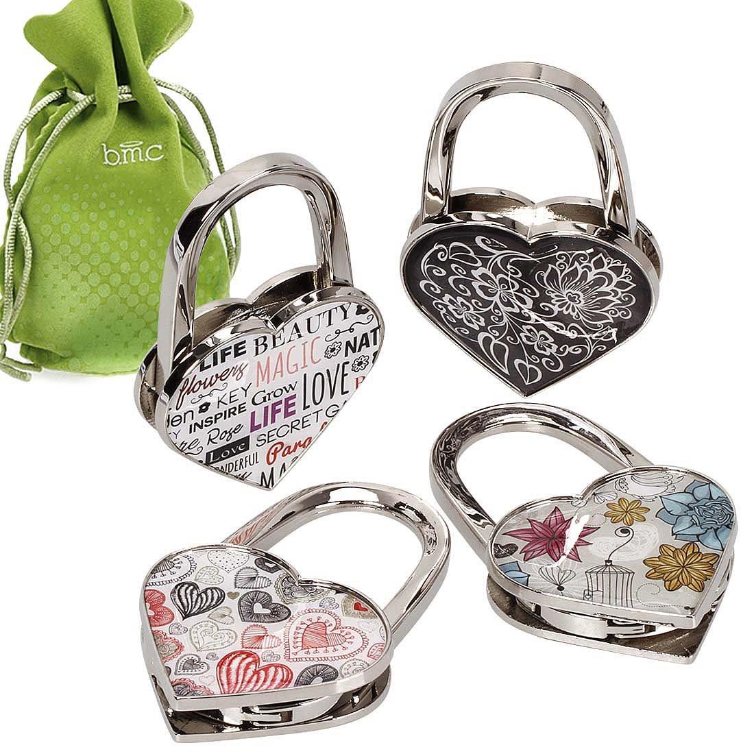 BMC 4pc Theme Designed Shoulder Handbag Folding Purse Holder Hangers Hooks Set - Swirled Heart