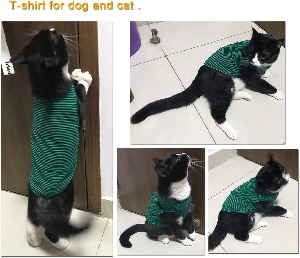 WEONE Dog Striped Cotton T Shirts,Pet Breathable Soft Basic Vest,Black+Red,XXL