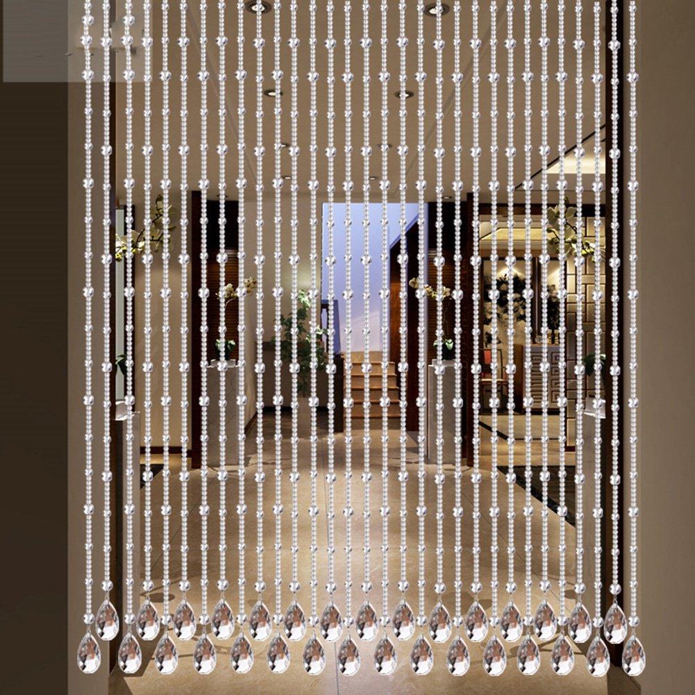 hyhmm高と低Scattered形状クリスタルカーテン通路寝室キッチンリビングルームカーテンバスルーム下駄箱パーティションカーテン、ミュート、コリジョン回避カーテン(透明、ゴールド) W(60cm~80cm)*H180cm クリア 932-621 W(60cm~80cm)*H180cm クリア B07F83VJ3N
