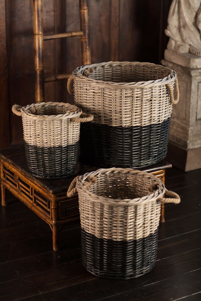 Vagabond Vintage Set of 3 Round Willow Baskets Dipped Black