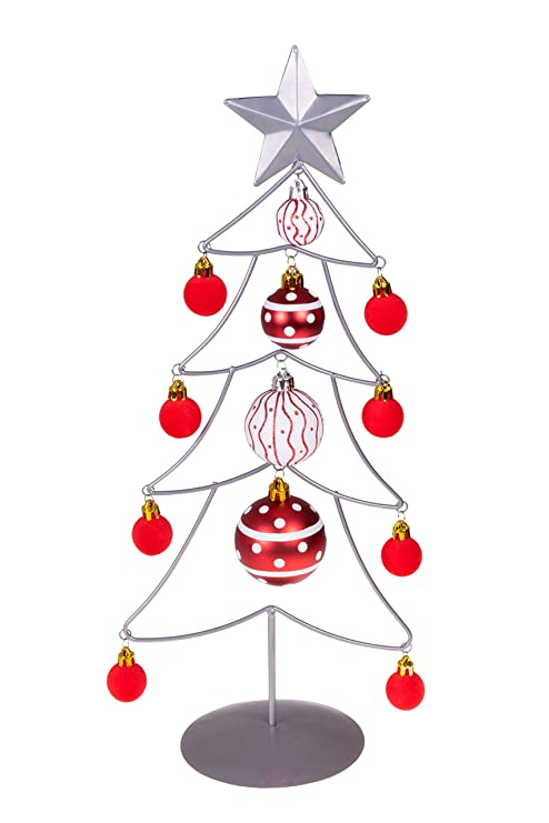 Wire Christmas Tree.Clever Creations Table Top Wire Christmas Tree With Ornaments Silver And Red Christmas Decor Theme Sparkling Fuzzy Glossy Shatter Resistant