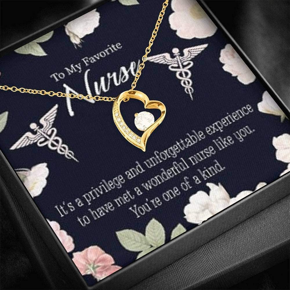 Thank You Nurse Card One of a Kind Nurse Forever Love Necklace-CZ Heart Pendant Stainless Steel or 18k Gold