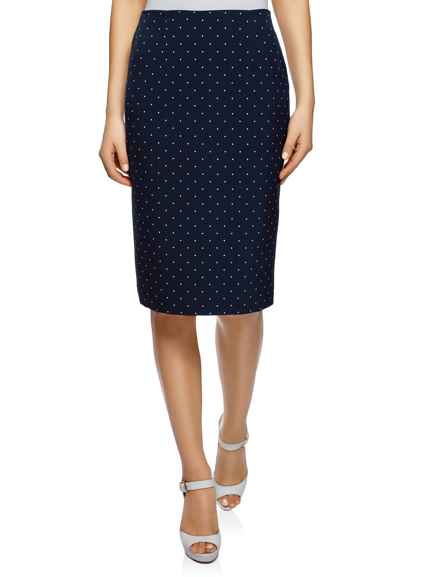 oodji Collection Women's Basic Pencil Skirt, Blue, 8