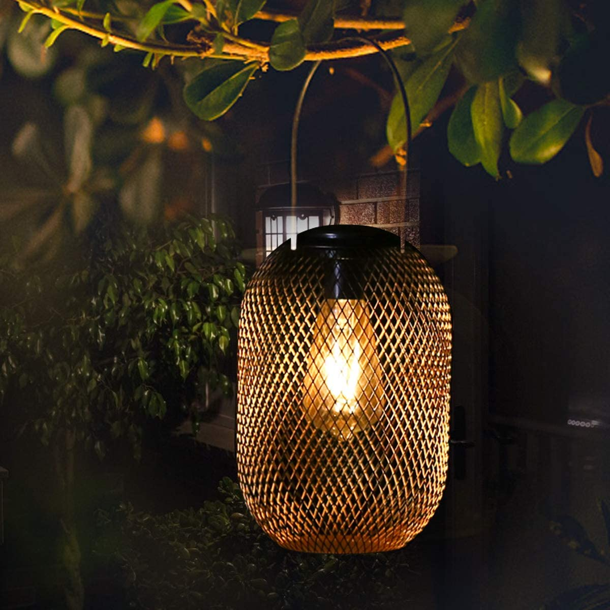 Solar Hanging Lanterns Outdoor, Solar Waterproof Lantern Lights Vintage Metal LED Decorative Tabletop Light with Handle for Indoor Garden Patio Landscape Yard (Copper)