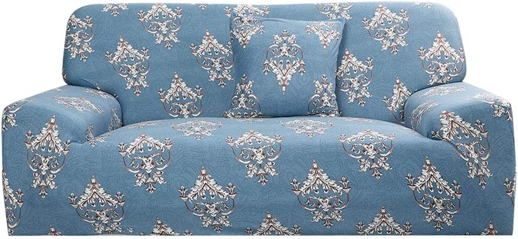 uxcell Printed Sofa Cover, Stretch Couch Covers, Spandex Fabric Sofa Slipcover, Furniture Protector for 1 2 3 4 Cushion Couch with One Pillow Case Large Blue