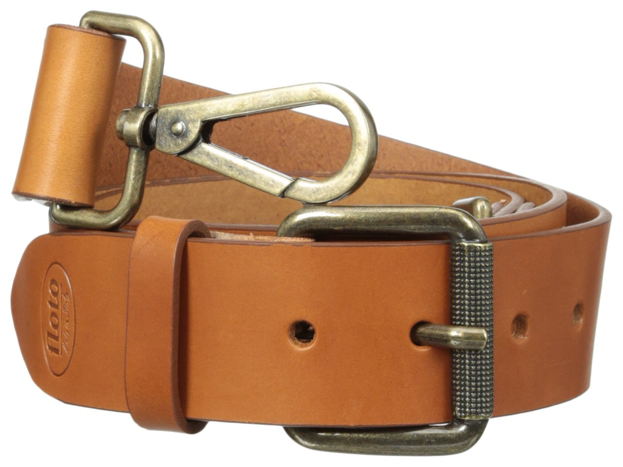 Floto Italian Calfskin Leather Belt Strap, Olive Brown, One Size