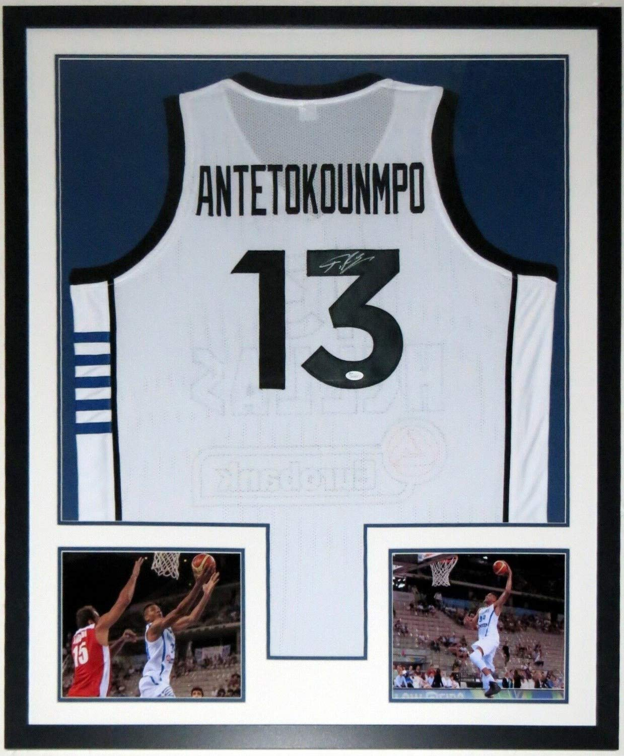 b909e4a9c6d Giannis Antetokounmpo Autographed Signed Memorabilia Greece Jersey JSA Coa  Custom Framed Photo at Amazon s Sports Collectibles Store