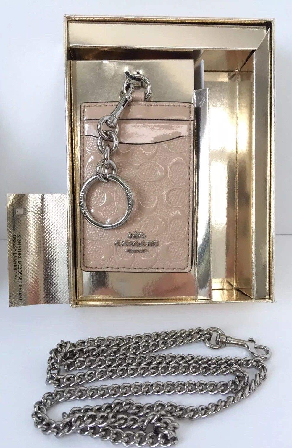 Coach Women's Boxed ID Lanyard/Card Case Set in Signature Patent Leather (Platinum/Silver) by COACH (Image #3)