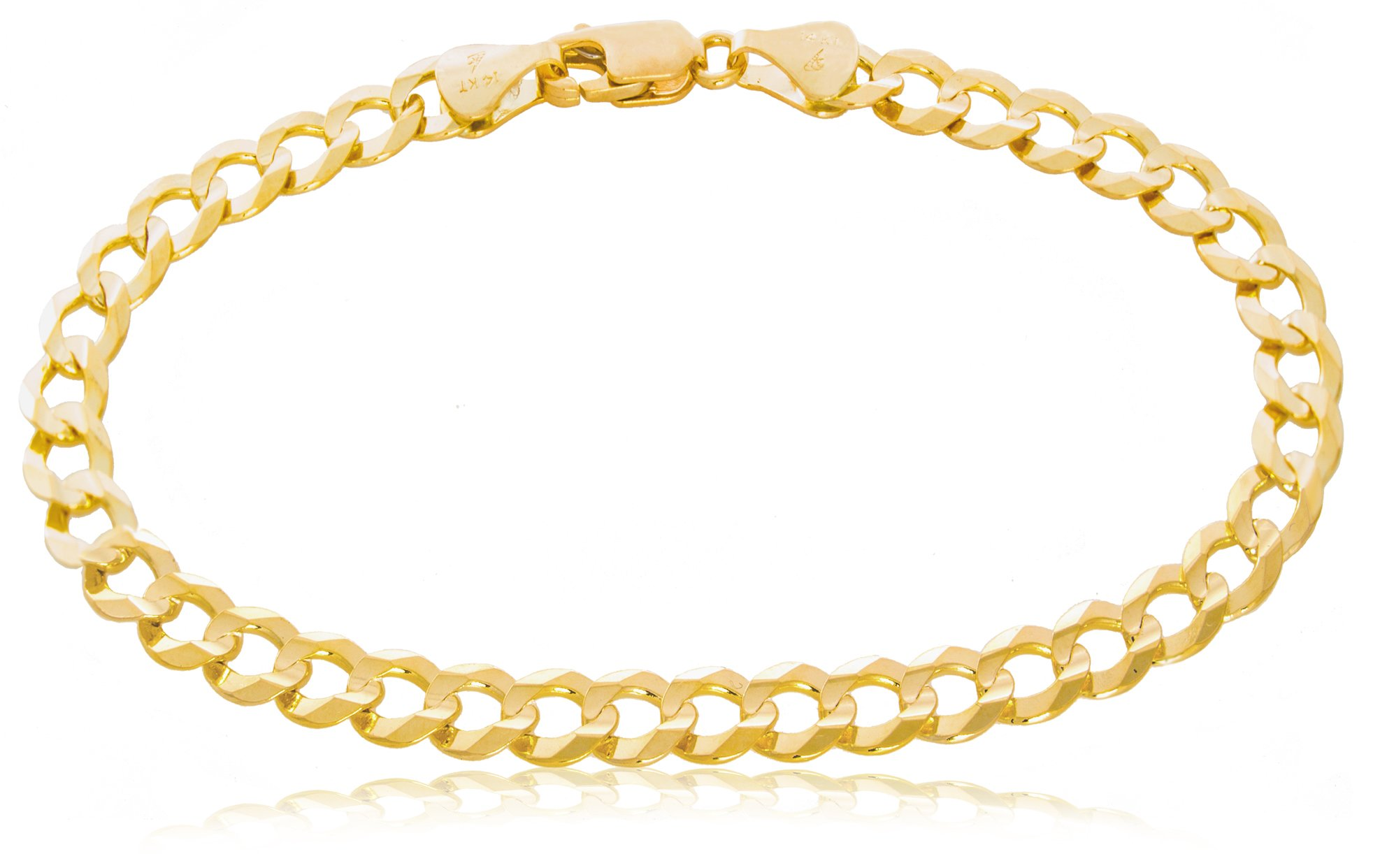 Solid Gold Light Curb Chain Bracelet 14K Yellow Gold 5.7mm Wide by 7-1/2'' Long | 6.9g