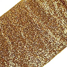"""Just Artifacts Premium Sequin Table Runner Decoration - (13"""" W x 108"""" L) - Solid Gold - Decorative Table Runners for Birthday Parties, Weddings, Baby Showers and Life Events!"""