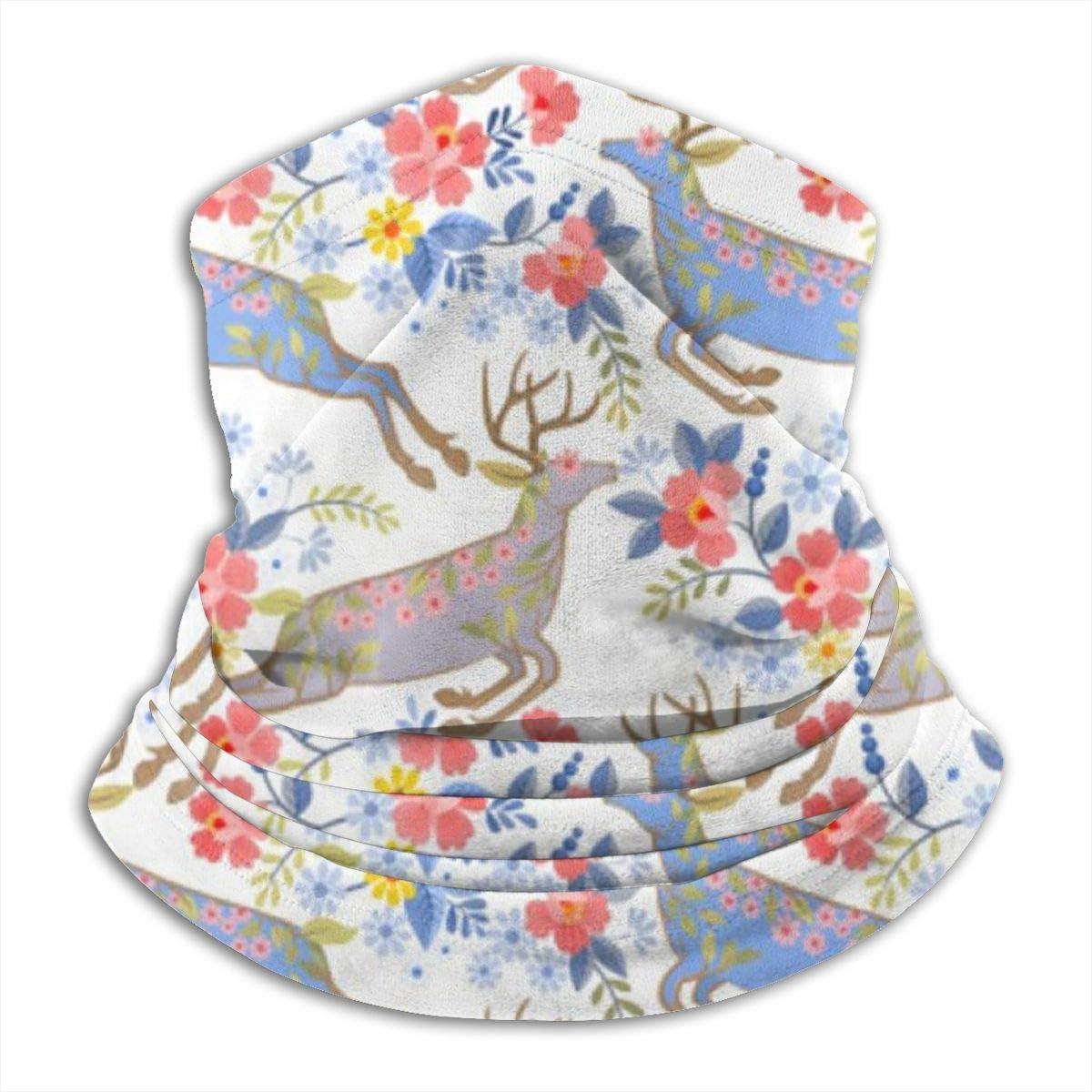 Microfiber Neck Warmer Floral Deer Flower Vintage Neck Gaiter Tube Ear Warmer Headband Scarf Face Mask Balaclava Black