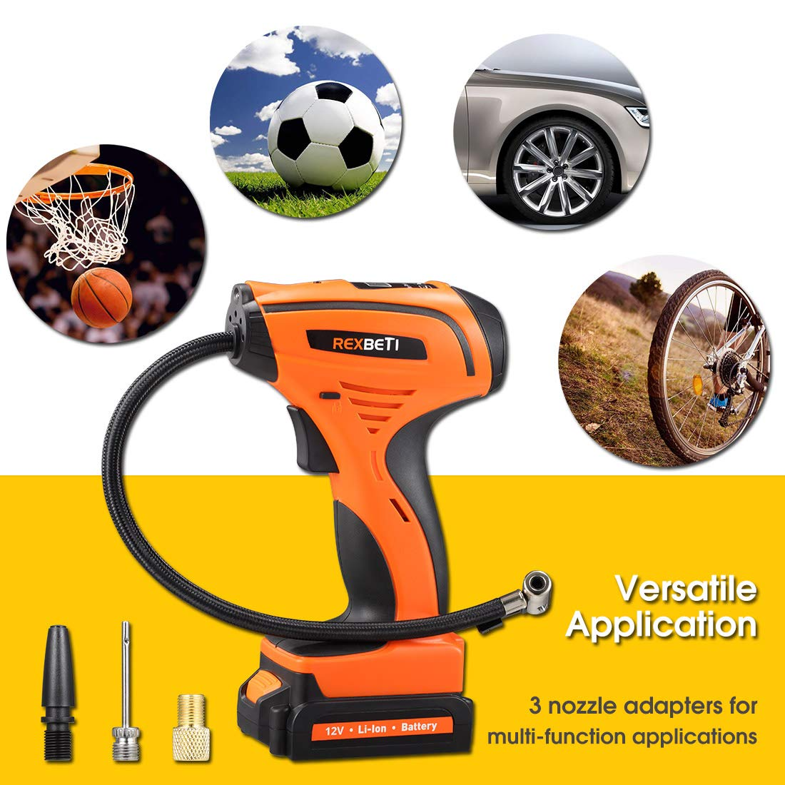 REXBETI Tire Inflator, Portable 12V Cordless Air Compressor for Tires, with Rechargeable Lithium-ion Battery and 12V Car Power Adapter, Easy to Read Digital Pressure Gauge, LED Lighting, 150PSI by REXBETI (Image #7)