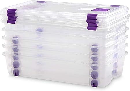 TODO HOGAR - Caja Plástico Almacenaje Transparente con Ruedas - Medidas 730 x 405 x 165 mm - Capacidad de 35 litros (5): Amazon.es: Hogar
