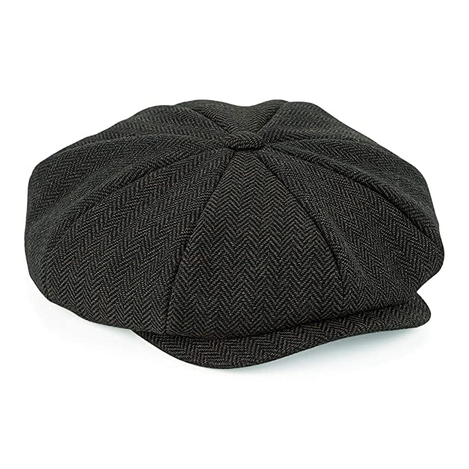 1920s Men's Clothing Flat Cap with Peak Shelby Baker Boy Newsboy Herringbone Cloth Cap Hat  AT vintagedancer.com