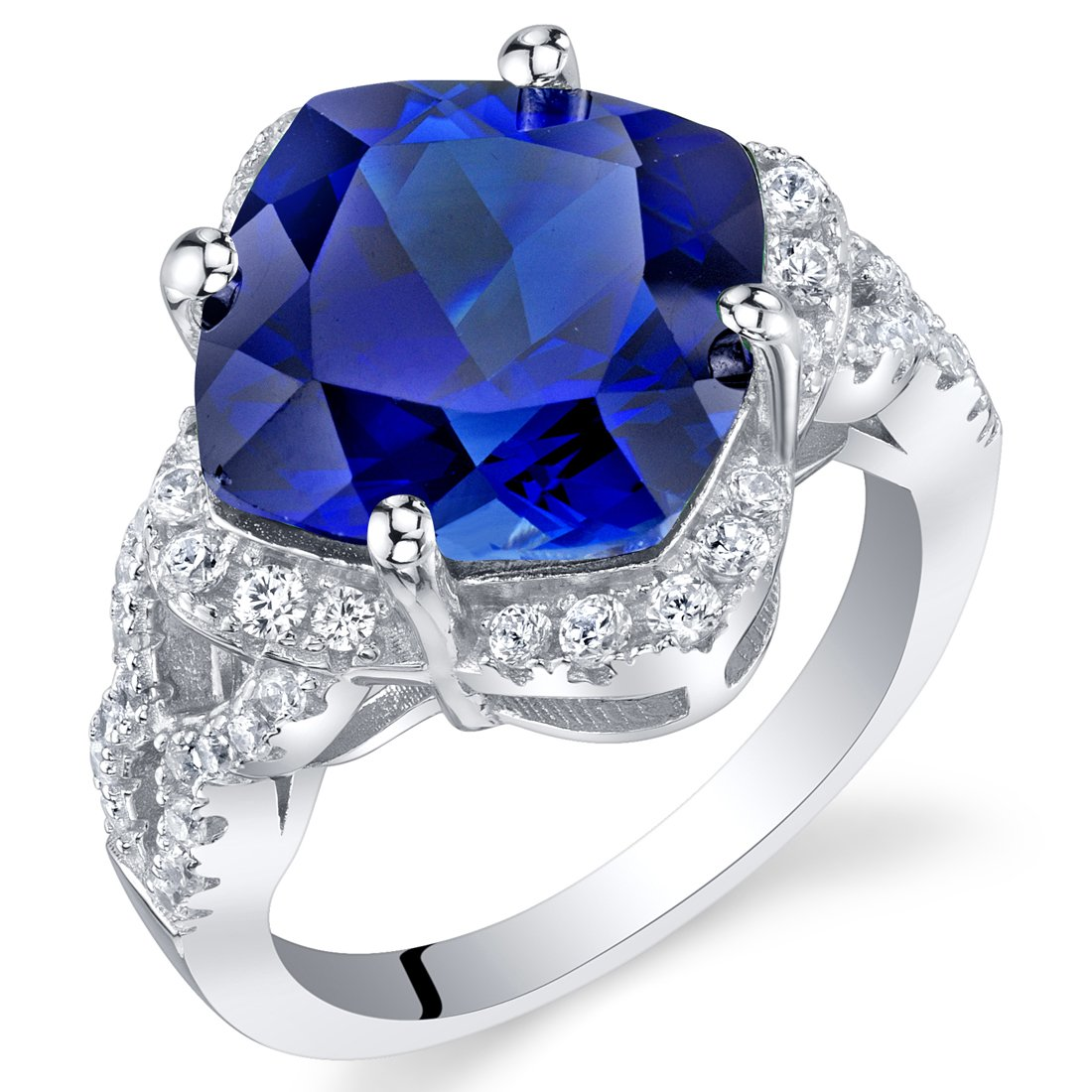7.50 Carat Created Blue Sapphire Sterling Silver Cushion Halo Ring Size 5