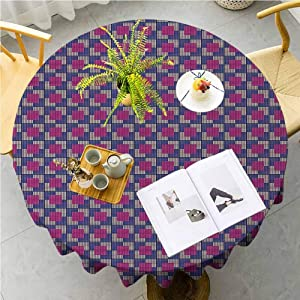 JKTOWN Geometric Outdoor Tablecloth Dinning Tabletop Decoration 55 inch Fractal Video Games Style Little Squares Mosaic Fantasy Graphic Violet Blue Pale Peach Pink