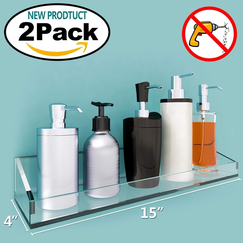 Amazon.com: VDOMUS Acrylic Bathroom Shelves, Wall Mounted Non ...