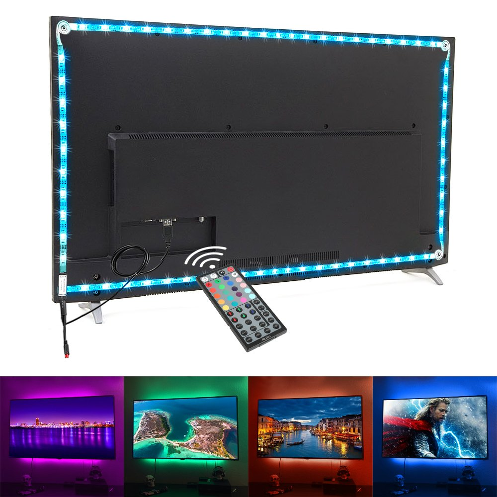 Nexlux TV Backlight, 9.8ft White USB LED Strip Lights Kit TV Lights 20 Colors 5050 LEDs Bias Lighting with 44-Key IR Remote Controller for 46 inch~65 inch HDTV PC Monitor Home Theater Decoration