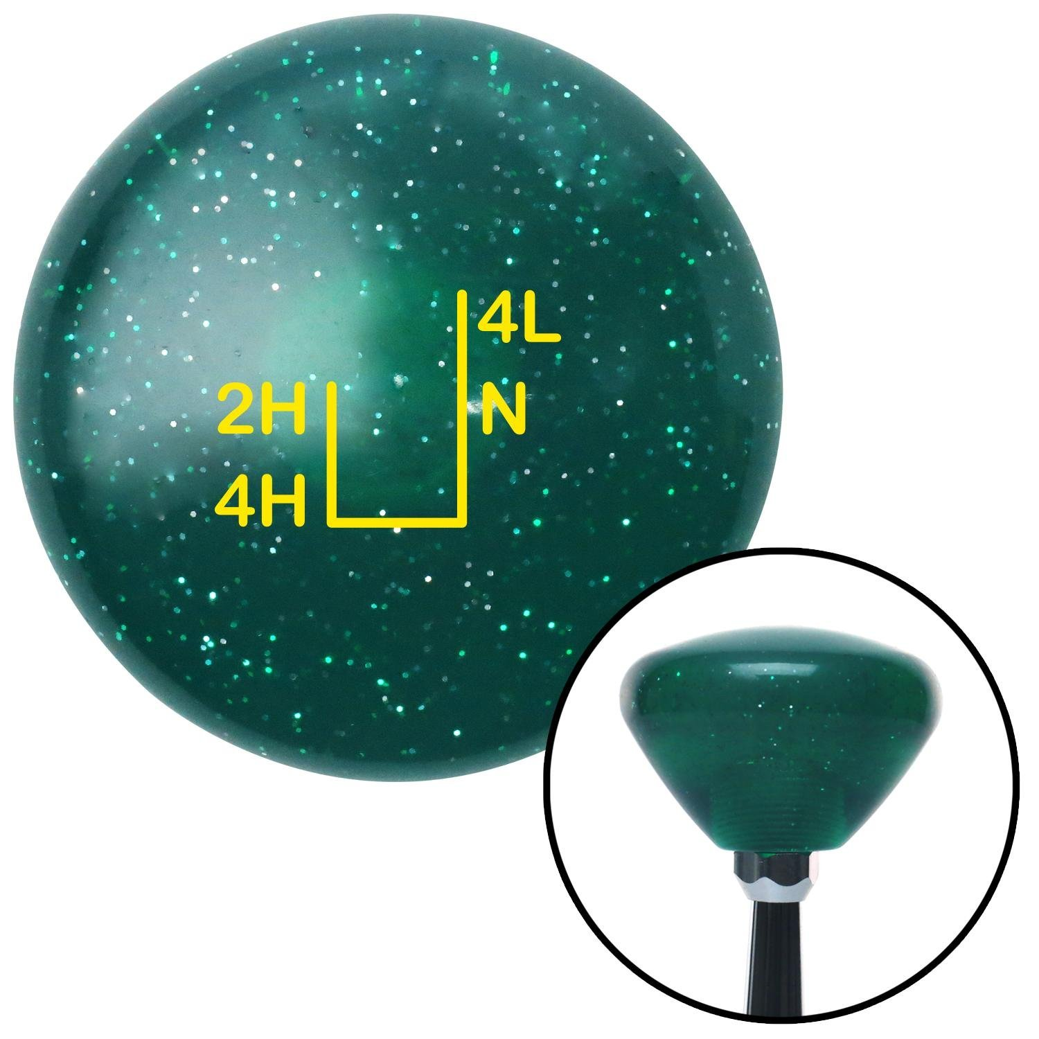 American Shifter 208626 Green Retro Metal Flake Shift Knob with M16 x 1.5 Insert Yellow Shift Pattern 35n