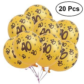LUOEM Globos 40 cumpleaños Globos de látex Decoraciones Aniversario 40 Aniversario número cumpleaños de la Boda, Paquete de 20
