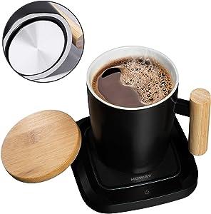 HOWAY Coffee Warmer & Mug Set, Coffee Mug Warmer for Desk Auto Shut Off Warmer Plate with Flat Bottom Ceramic Cup Warm Water, Tea, Cocoa and Milk (Mug Included)