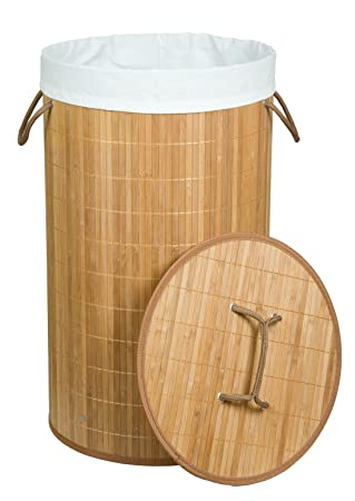 Kronenburg Bambus W/äschekorb W/äschesammler Rund mit Deckel 58 cm x 35 cm /Ø Schwarz